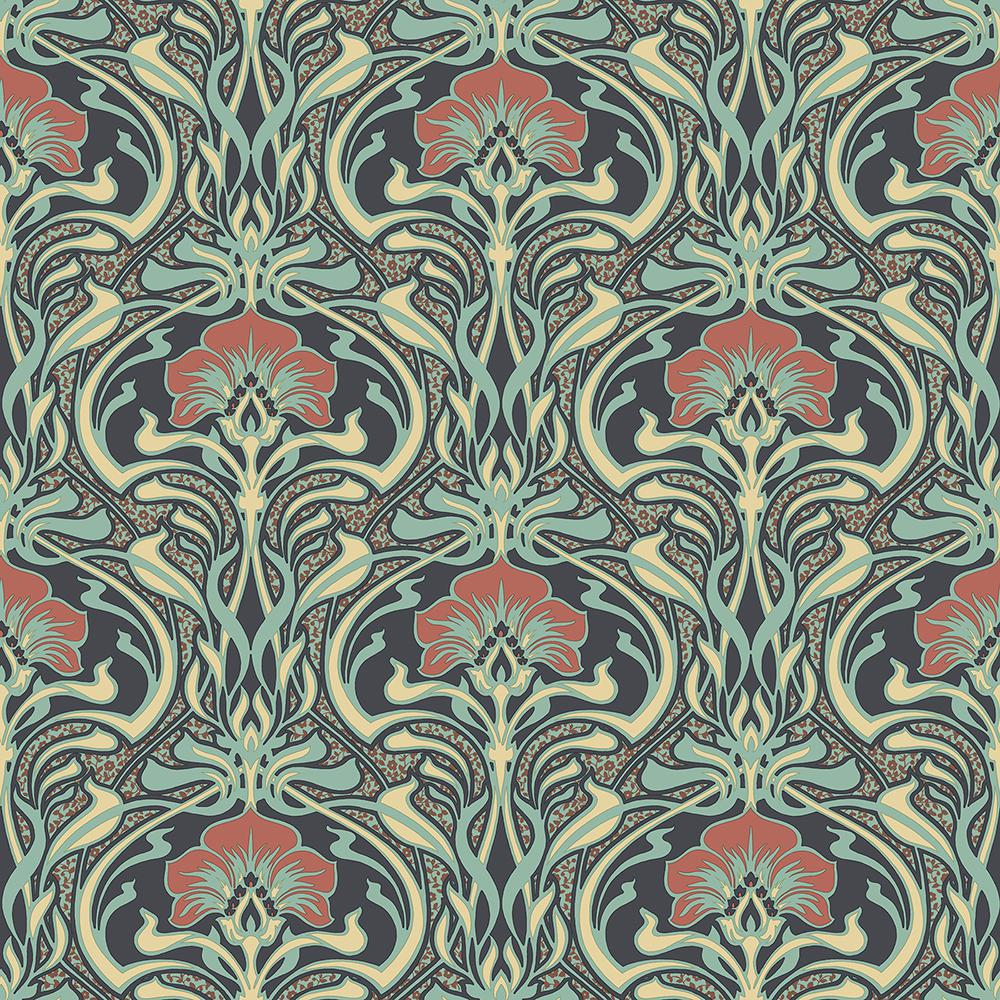 Crown 56 4 Sq Ft Donovan Moss Nouveau Floral Wallpaper Green In