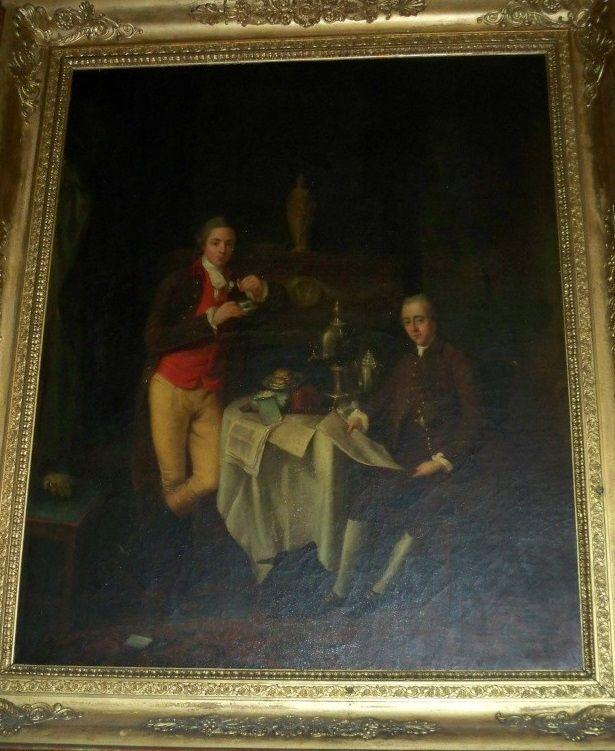 Louis Alexandre, 6e. Duc de La Rochefoucauld-Anville (assis à droite), avec son cousin-germain François XII Alexandre, Duc de Liancourt (debout à gauche), vers 1765.
