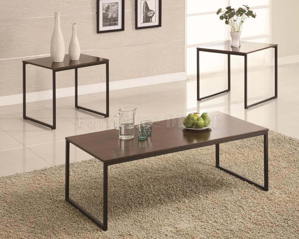 Best Black Metal Base Brown Wood Top Modern 3Pc Coffee Table Set 400 x 300