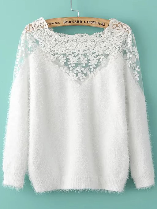 0550c92796 Shop Lace Insert Boat Neck Mohair Sweater online. SheIn offers Lace Insert Boat  Neck Mohair Sweater & more to fit your fashionable needs.