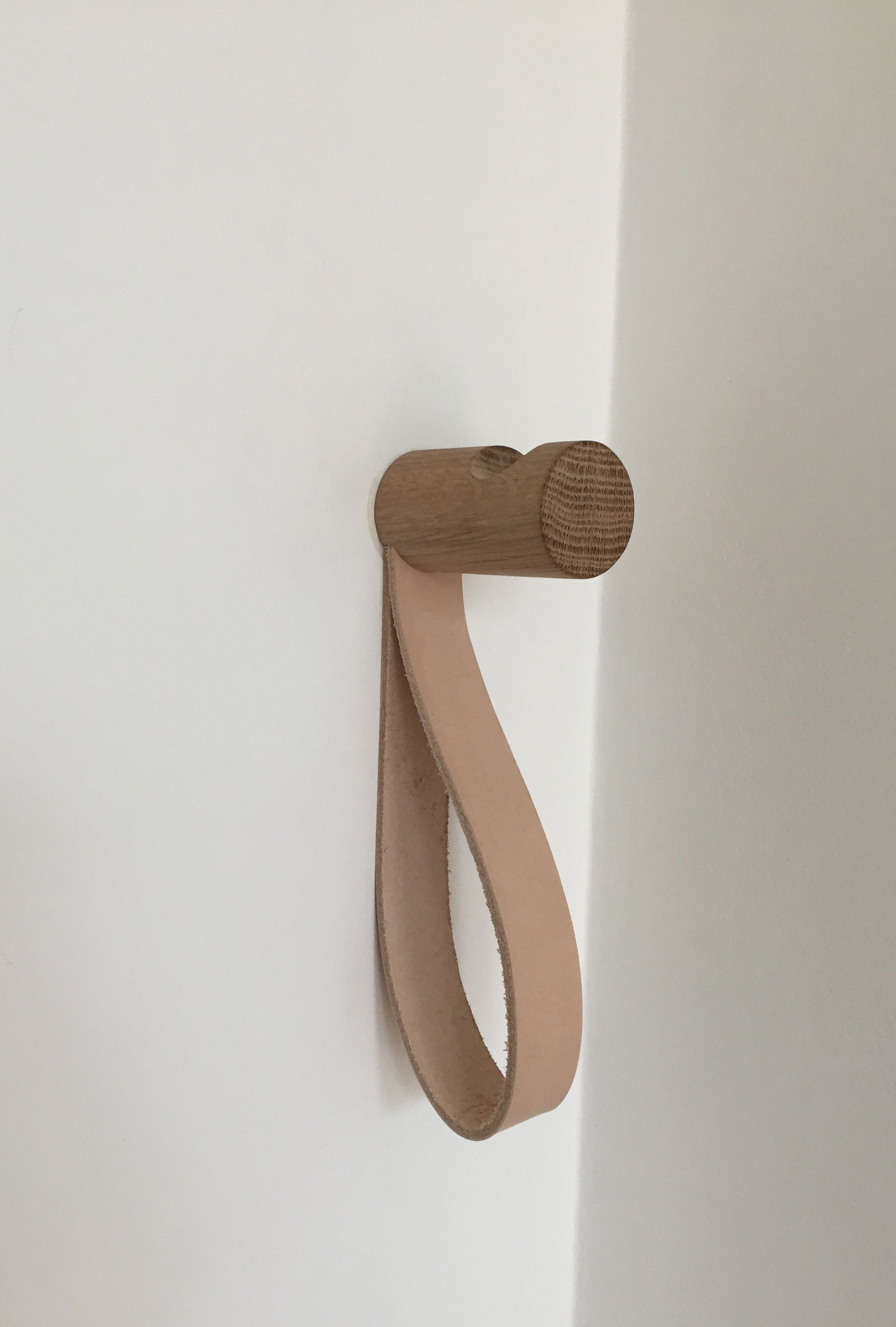 american oak wall hook with natural leather loop | Coat hooks ...