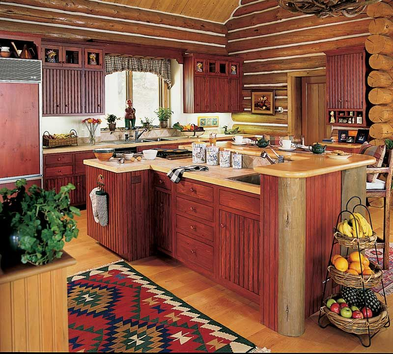 Lake Luxury Kitchens: Country Cabin Kitchen With Red. Log Homes NEED Color In