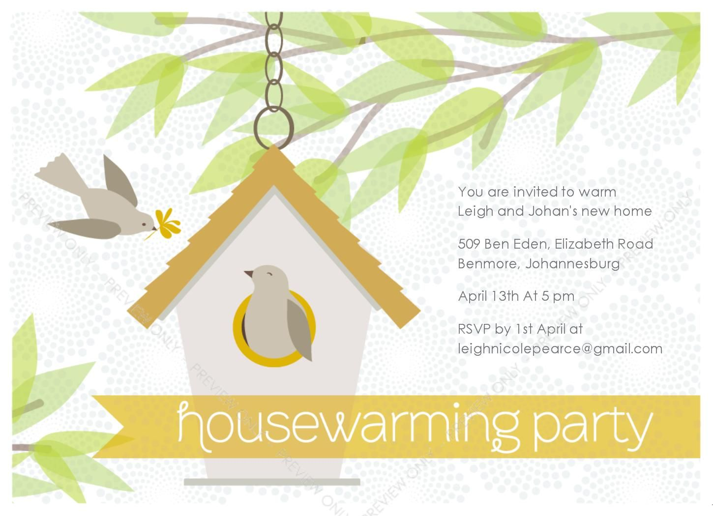 Birdhouse House Warming Invitation
