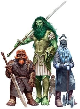 Giants! from left to right: fire giant, storm giant, frost giant. Bad, good, bad.