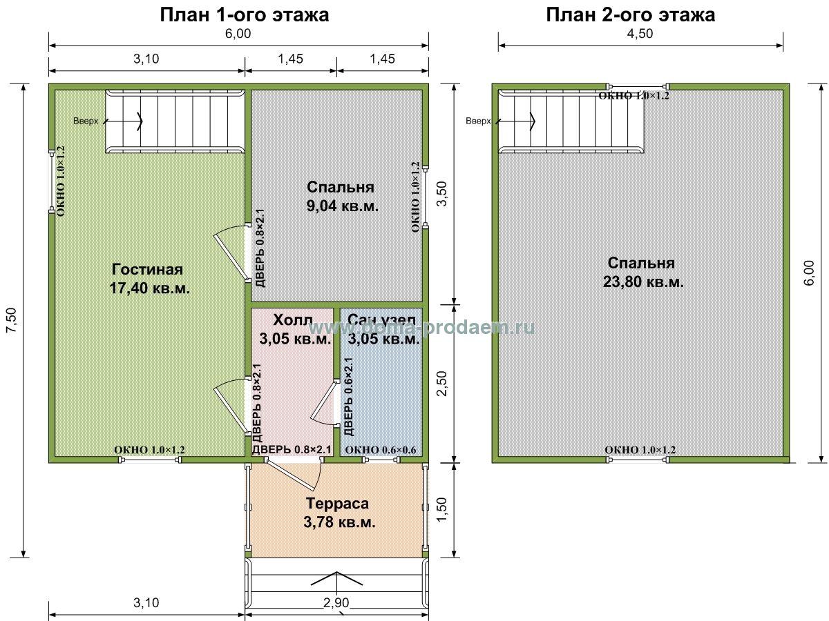 схема одноэтажного дома 6х7