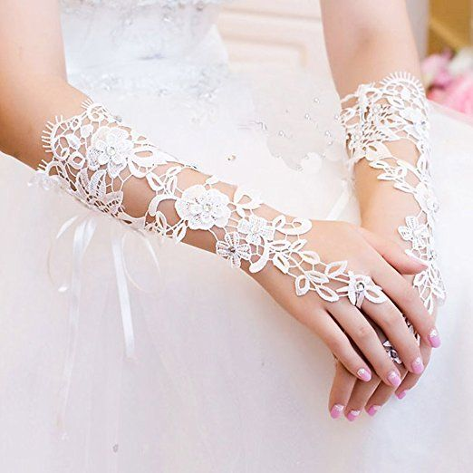 Musuntas Weisse Blumen Brauthandschuhe Fingerlose Satin Perlen Hochzeit Prom-two style