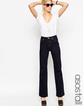 ASOS TALL Bianca Flare Jeans In Indigo With Contrast Stitching