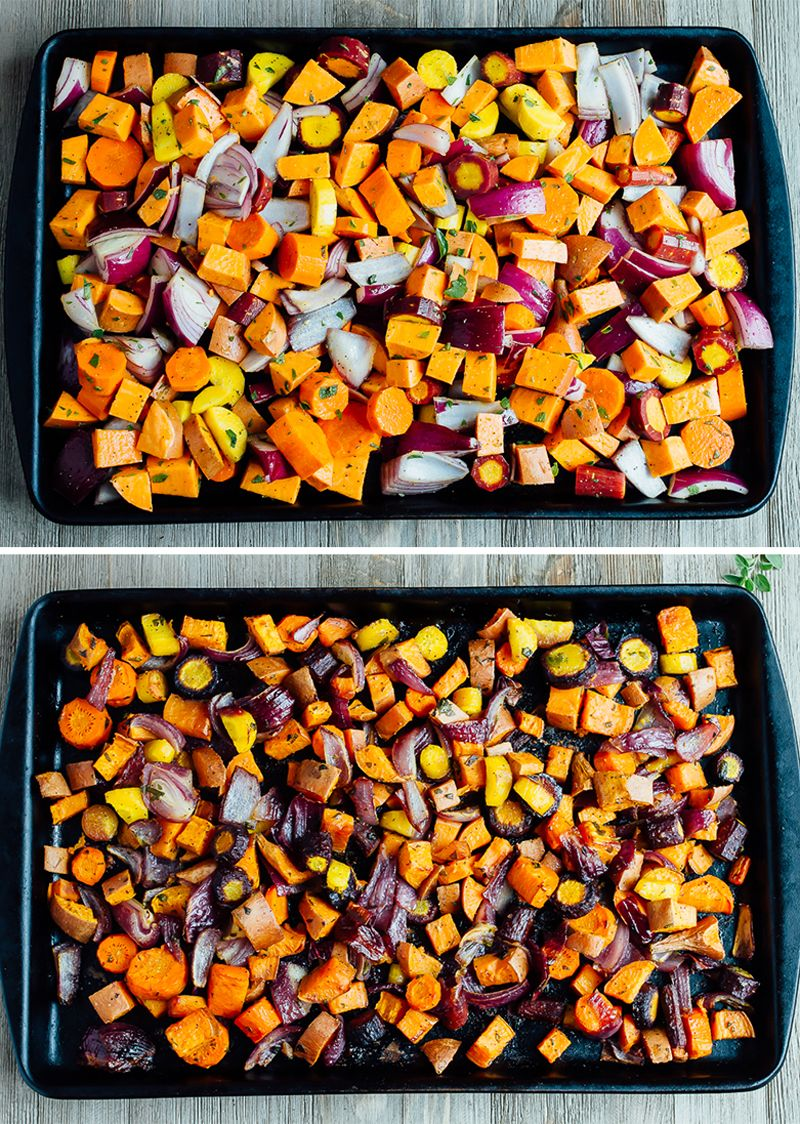 Caramelized roasted root vegetables with sweet potatoes ...