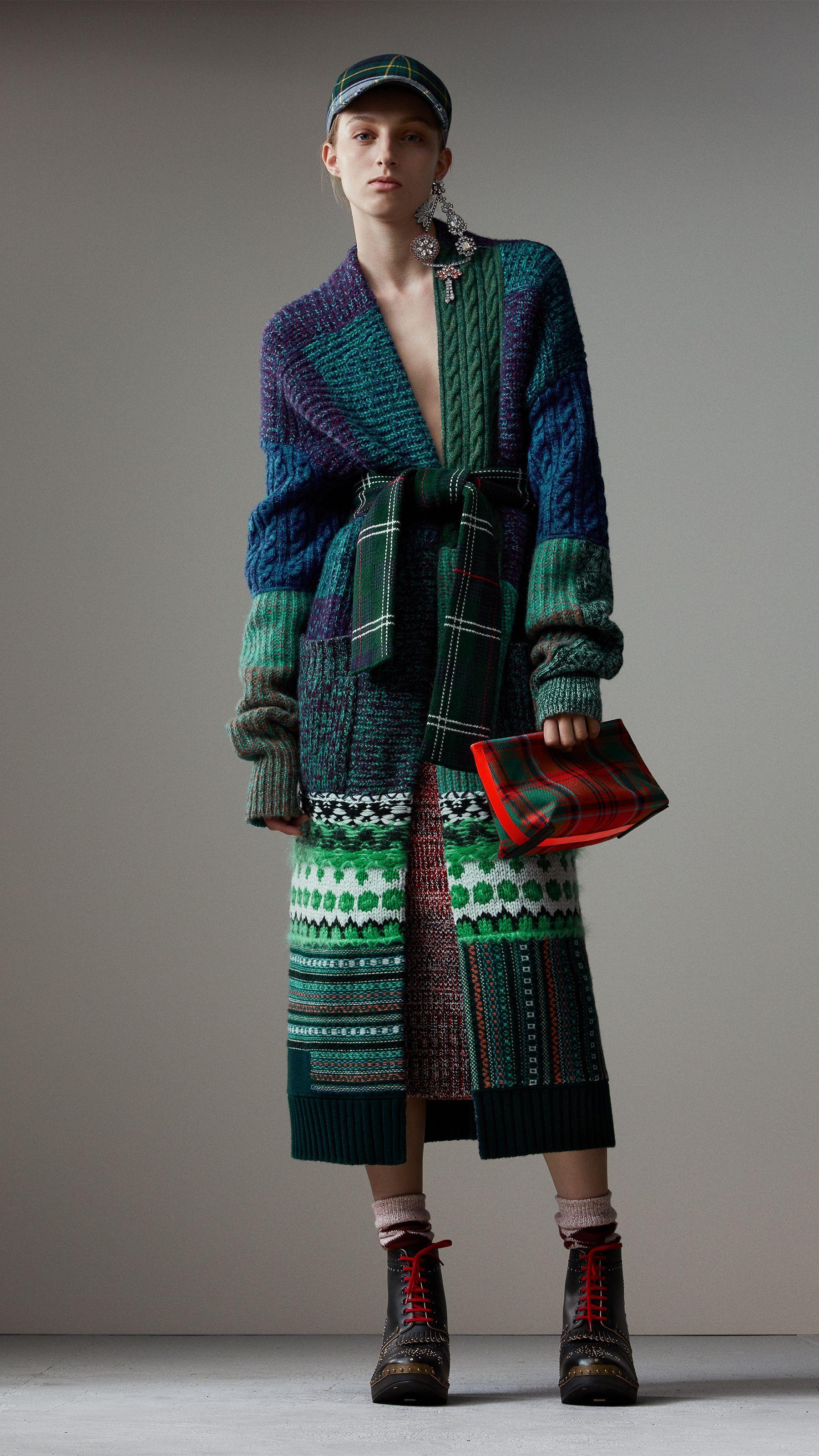 Cashmere Wool Mohair Patchwork Cardigan Coat in Hydrangea Blue - Women   Burberry #knitting #knit #coat #fairisle #plaid #colorblock