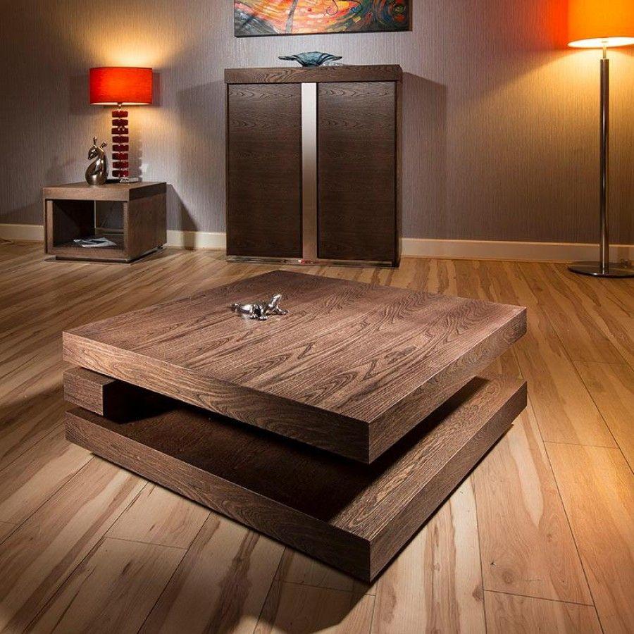 Large square coffee table in dark elm modern designer 397e
