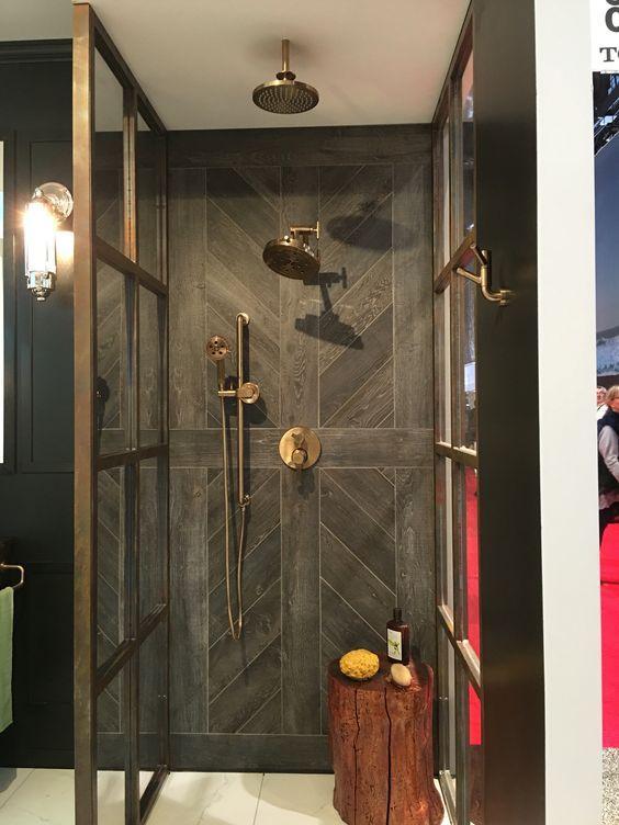 The Tile Installation On The Back Wall Of This Shower Nbsp Simple Hardwood Floor Look Alike T Luxury Bathroom Tiles Wood Tile Shower Patterned Bathroom Tiles