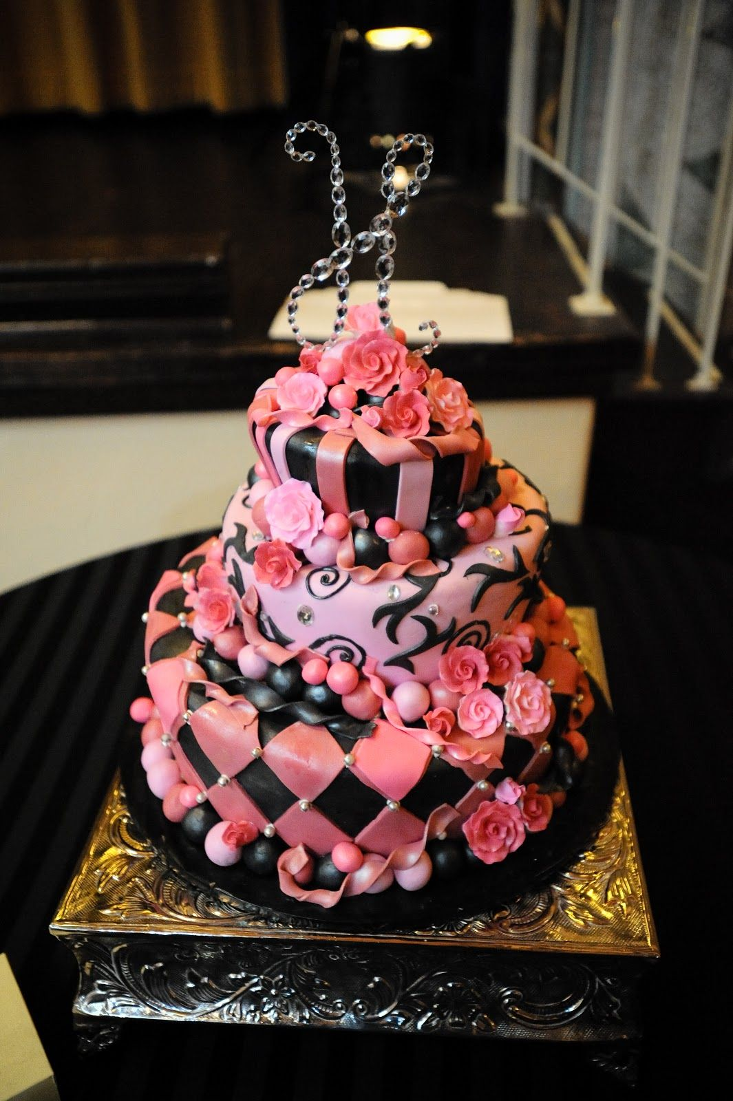 Pink and black cake ideas morgann hill designs black u hot pink