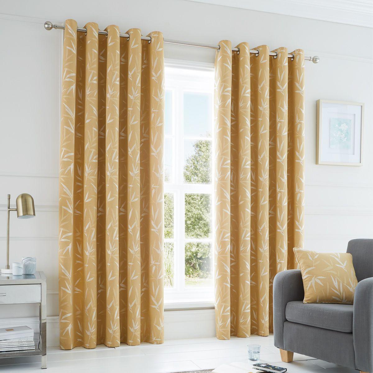 Bamboo Ochre Ready Made Eyelet Curtains Harry Corry