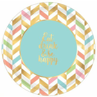 Amscan Eat Drink And Be Happy Paper Disposable Dinner Plate