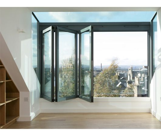 Alternative to french doors.    Not a fan of the glass balcony wall, could easily be done in metal.