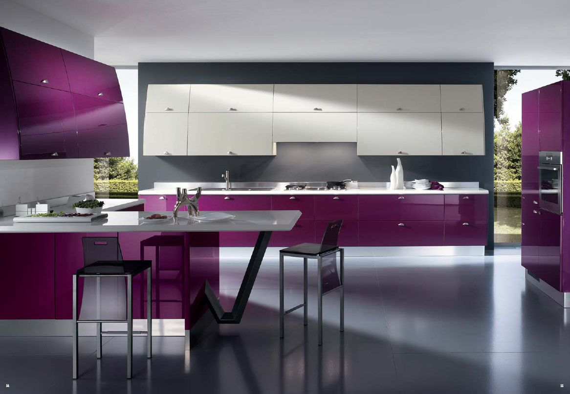 Modern Kitchen Furniture Best Contemporary Kitchen Design The Purple Cabinets And Modern