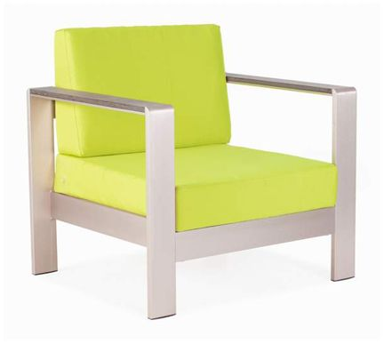 Lamps Plus Modern Aluminum Arm Chair Outdoor Furniture Lime Green Brushed  Metal