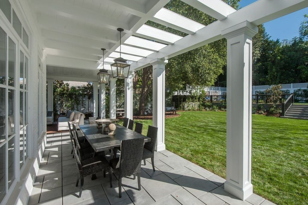 Traditional Porch with Fence, Pathway, exterior tile floors, Wyatt Dining Table