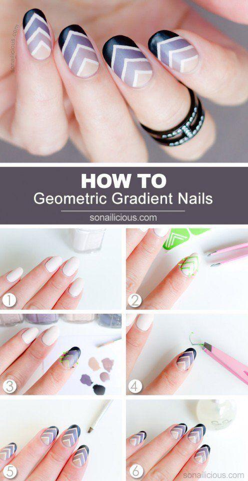 Geometric Gradient Nail Design Tutorial Uas Pinterest