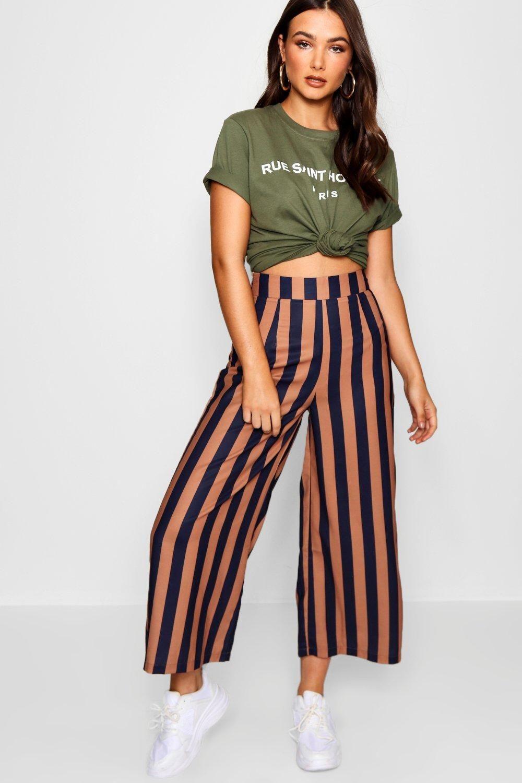 edda24ccbb1be4 Jupe-culotte coupe large tissée à rayures en 2019 | Jeans & Pants ...