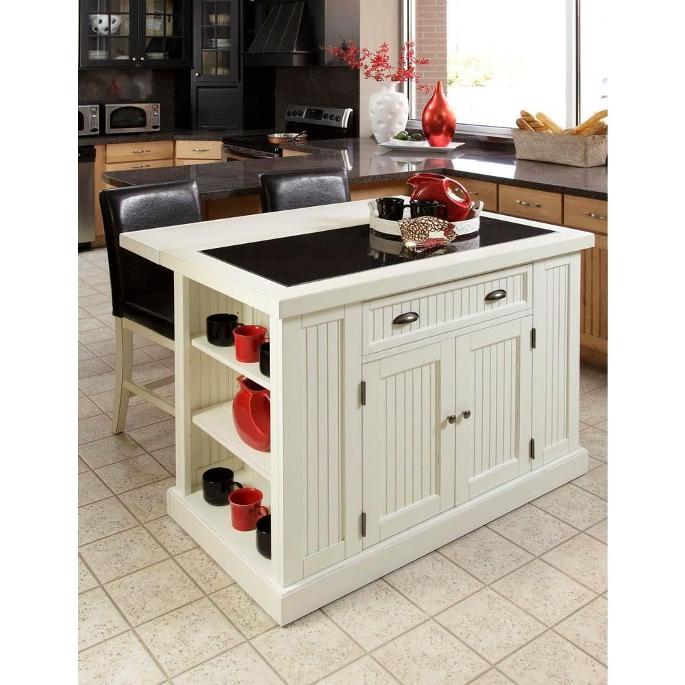 Homestyles Nantucket White Kitchen Island With Granite Top 5022 94 The Home Depot Portable Kitchen Island Kitchen Island With Granite Top Home Depot Kitchen