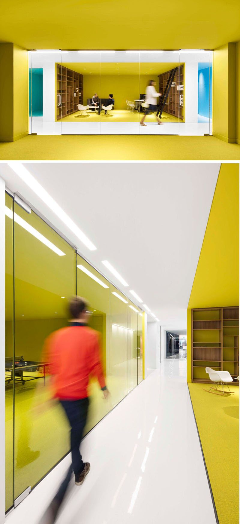 This Office Interior Used Color To Create Distinct Spaces | Open ...