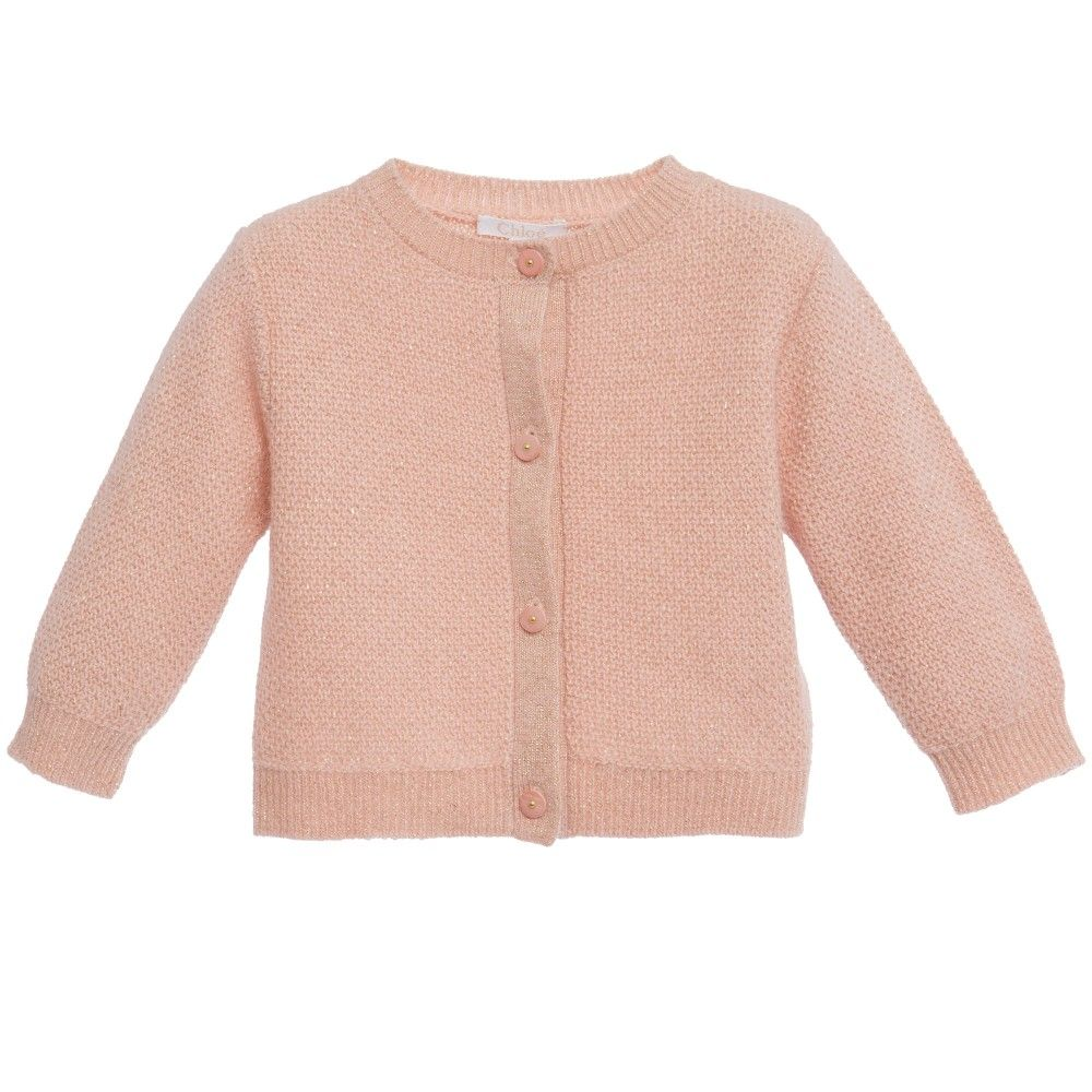 Baby Girls Pink & Gold Knitted Cardigan | Kids online, Gold and Babies