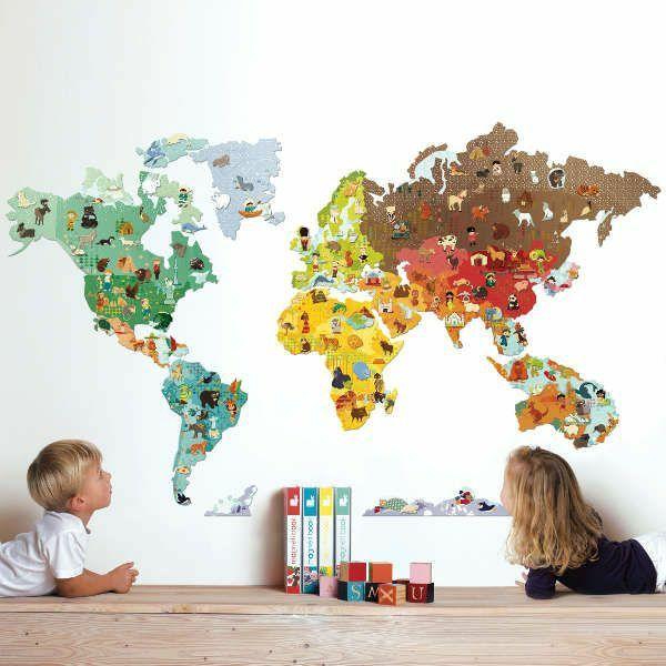 schöne dekoideen kinderzimmer wände dekorieren weltmappe tiere ... - Kinderzimmer Deko Tiere