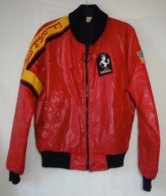 Vintage Jim Watkins Jacket Red Ferrari 70s Rare Celebrity Windbreaker Mens Large Red Jacket Vintage Men Bomber Jacket