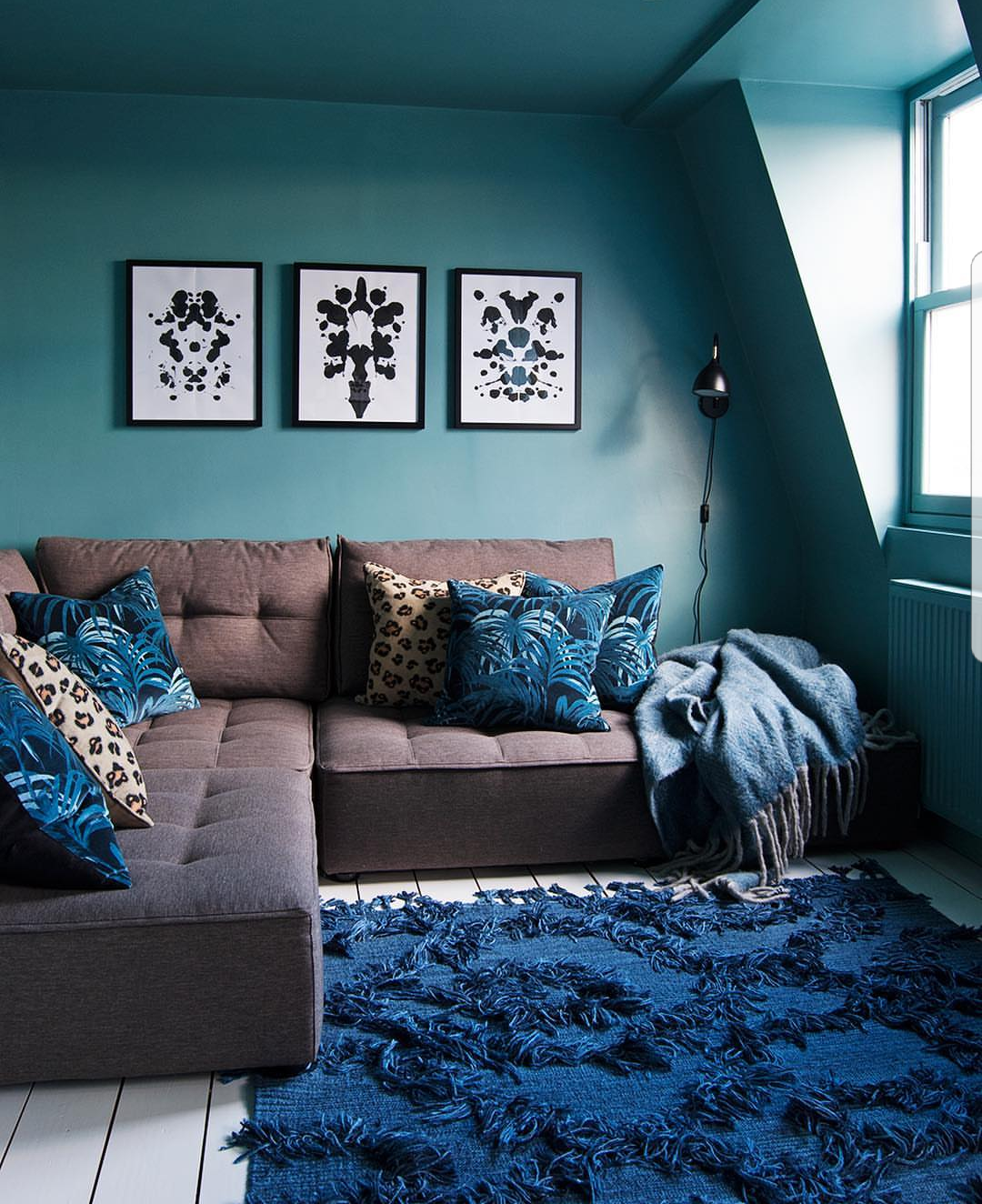teal brown and blue  blue living room living room sofa