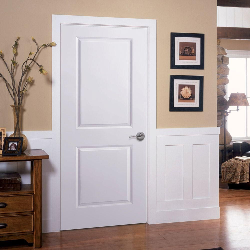Masonite 24 In X 80 In 2 Panel Square Top Left Handed Hollow Core Smooth Primed Composite Single Prehung Interior Door 18047 The Home Depot Prehung Interior Doors Custom Interior Doors Masonite Interior Doors