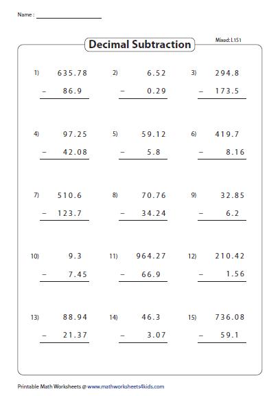 Decimal Subtraction Mixed Math Worksheets Subtraction Worksheets Decimals Worksheets
