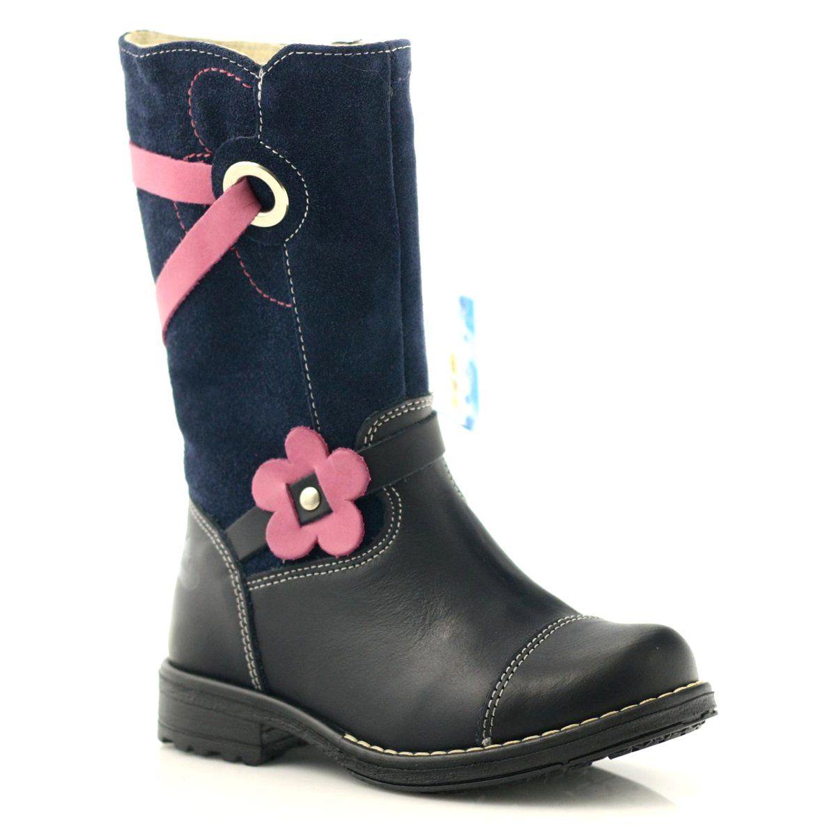 Kozaczki Buty Dzieciece Zimowe Ren But 3172 Granatowe Rozowe Boots Rubber Rain Boots Rain Boots