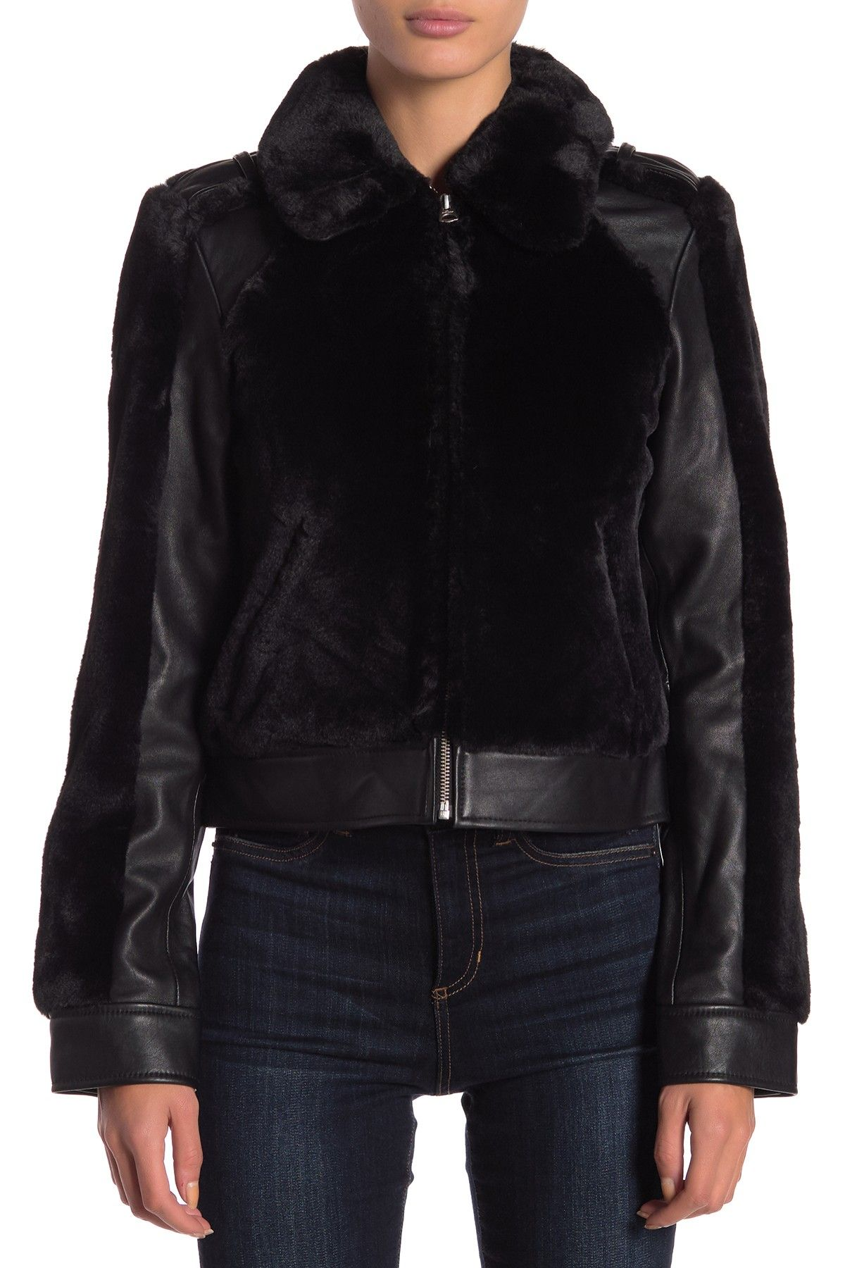 7 For All Mankind Faux Fur & Leather Jacket Fur