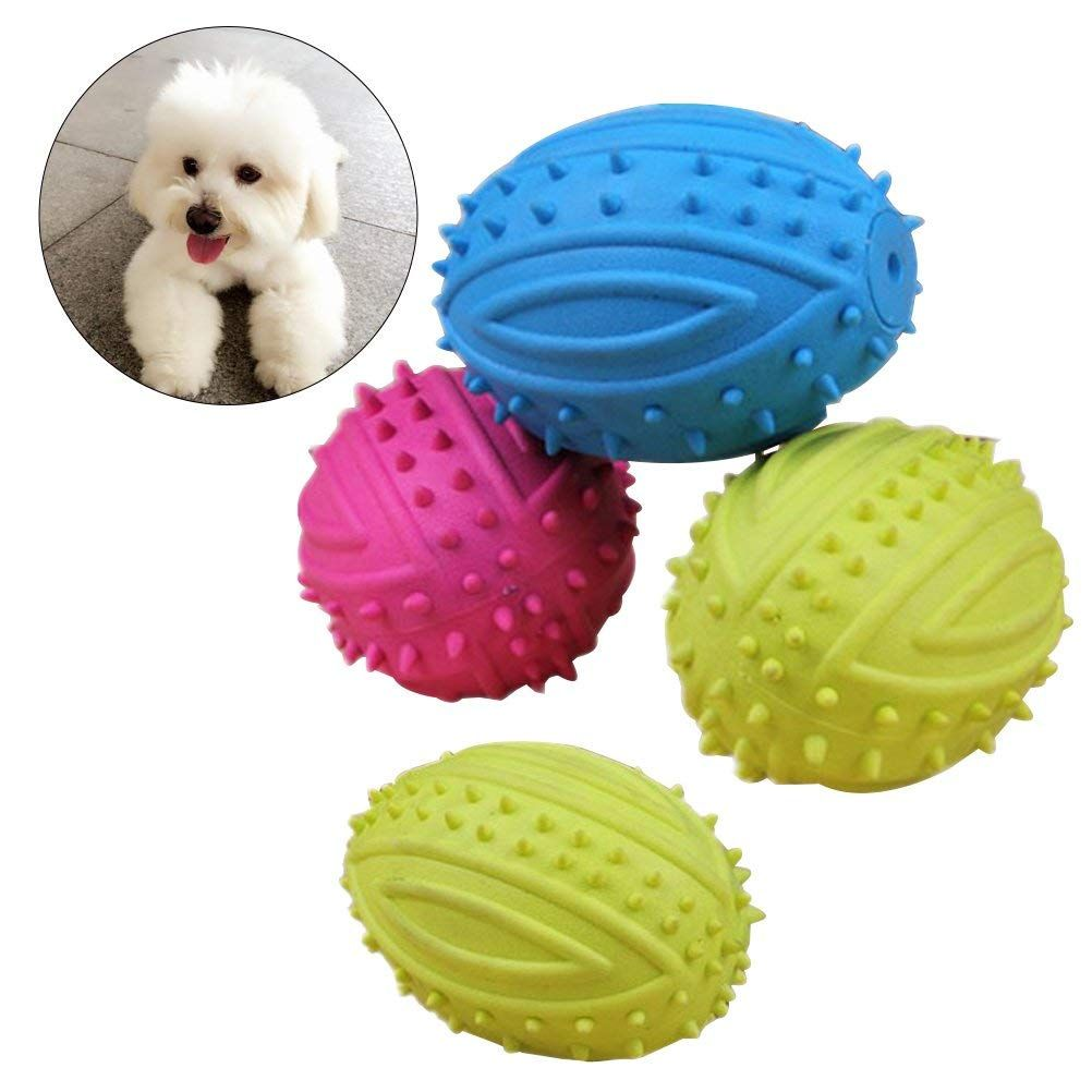Ueetek 4 Pcs Pet Dog Ball Fetch Ball Chew Toys Rubber Rugby Ball