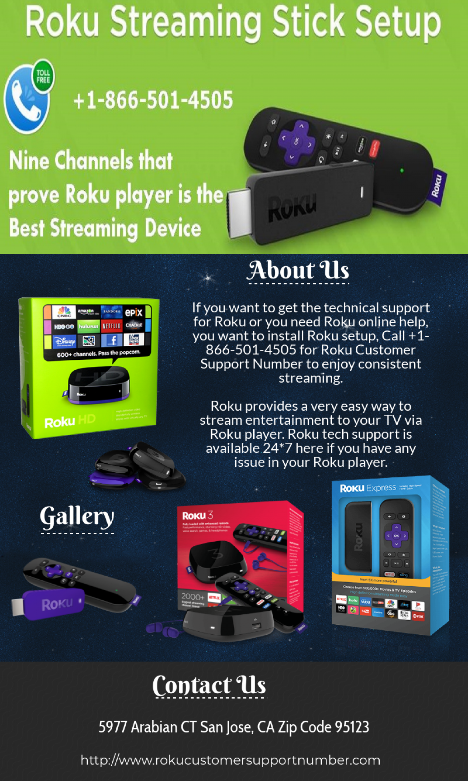 Roku Customer Support Number 1 866 501 4505 Infographic