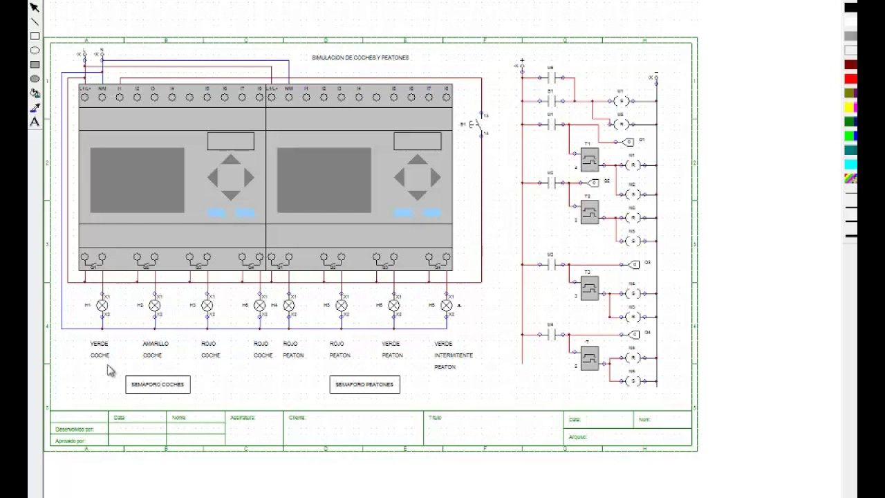 Simulacion Coches Y Peatones Plc Esquemas Electricos Circuito Electrico Electricidad