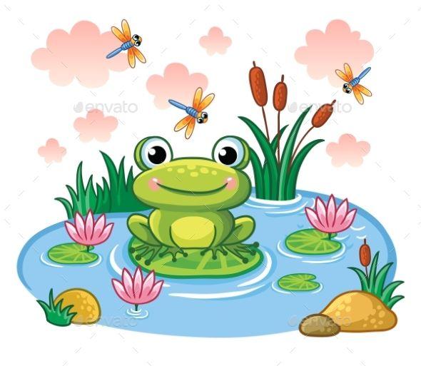 The Frog Sits on a Leaf in the Pond. | Frog illustration, Frog drawing, Art  for kids