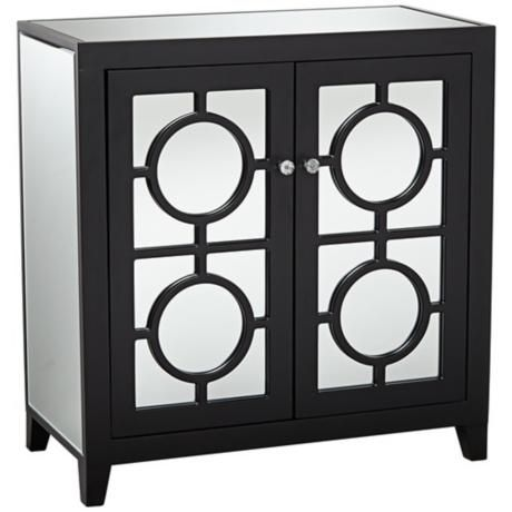 Jenyne Black Mirrored Accent Cabinet Concole 30 3 4 High X 29