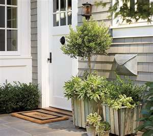 Envelope Mailbox Antique Silver Finish At Pottery Barn Outdoor Front Door Decor In 2020 Wood Barrel Planters Porch Decorating Wood Planters