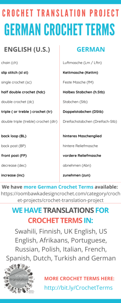 German Crochet Terms and English Translations
