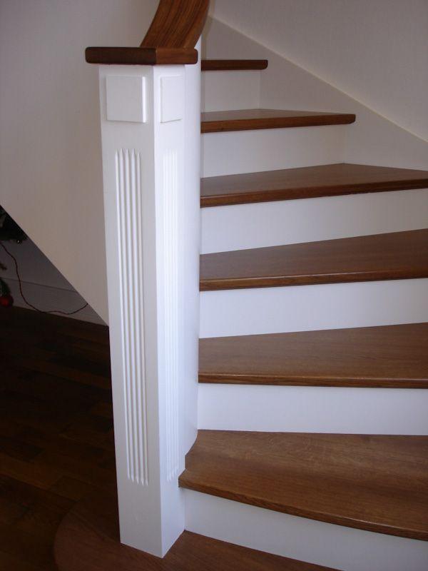 Habillage D Un Escalier En Beton Avec Des Marches En Chene Teintees Et Contremarche Laquee Blanc 01 Habillage Escalier Escalier Beton Escalier Relooking