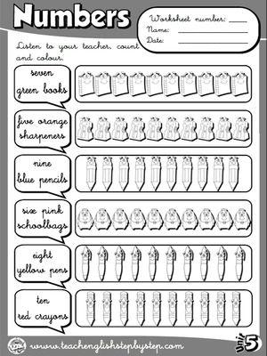 Numbers - Worksheet 4 (B&W version) | English worksheets | Pinterest ...