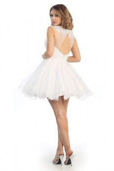 Short Key Hole Back and Lace Prom Dress in Ivory
