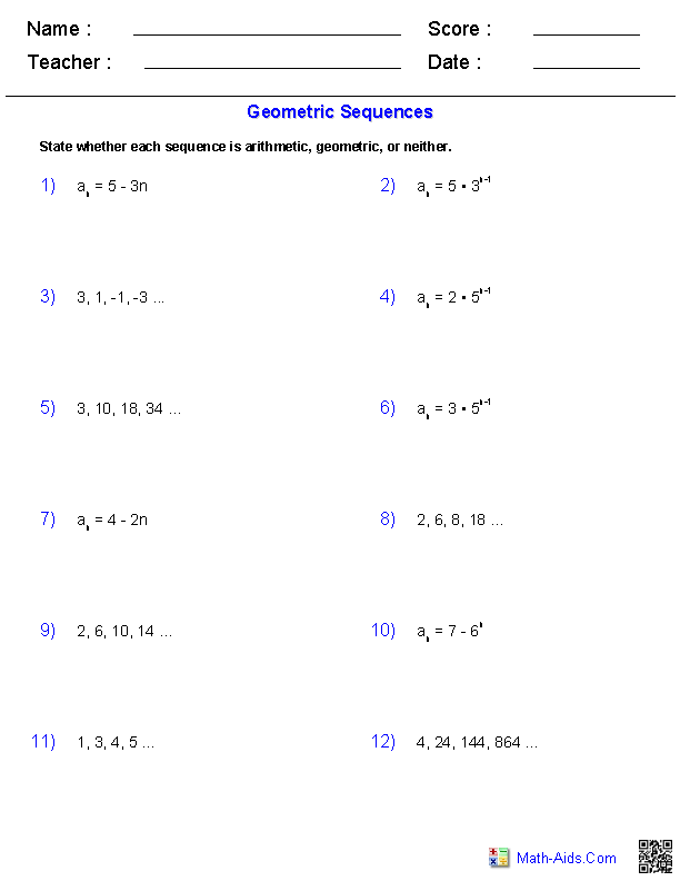 Arithmetic and geometric sequences worksheet 7th grade