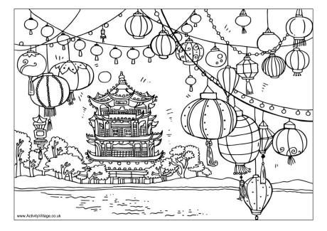 chinese lanterns scene colouring page - Coloring Page Chinese New Year