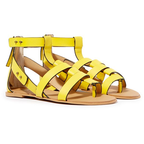 Joe's Ranger Sandals ($72) ❤ liked on Polyvore featuring shoes, sandals, flats, yellow, flats sandals, yellow sandals, joe's jeans, yellow flat shoes and joes jeans shoes