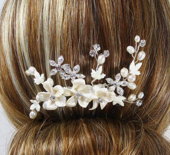 Flower Hair Comb Bridal hair comb Wedding hair by adrianasparksacc, $29.00