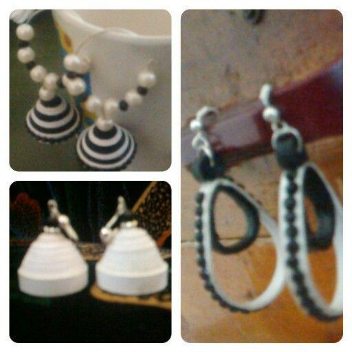 Black & white quilling earrings