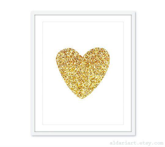 Gold Heart Art Print Gold Glitter Heart Print Nursery Heart Print Modern Wall Art Gold Home Decor Heart Art Print Gold Glitter Heart Modern Wall Art